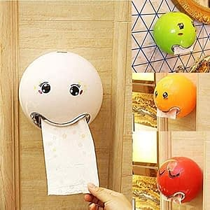 14_Tissue Box Roll Paper Holder Ball Shaped Waterproof Smile Face Bathroom