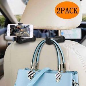 06_Car Headrest Hook Phone Holder with Universal Car Hook